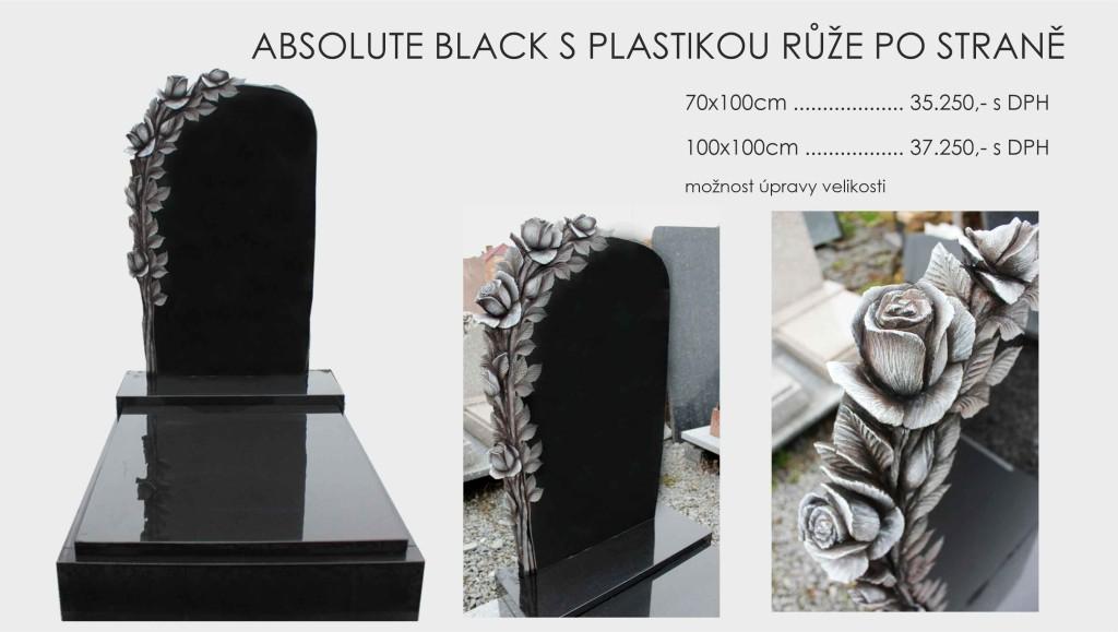 Absolute black s plastikou růže po straně