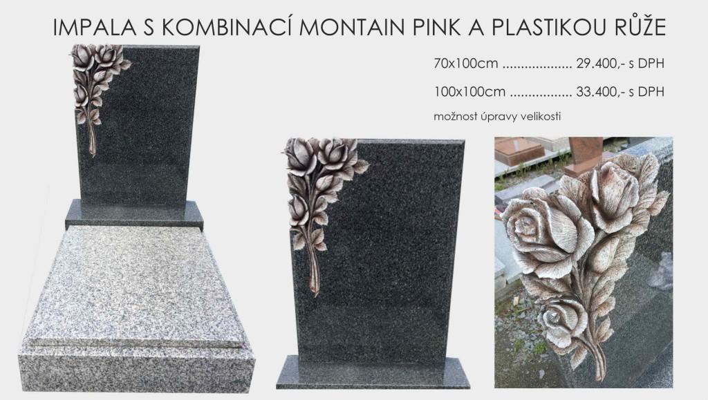 Impala s kombinací Montain pink a plastikou růže