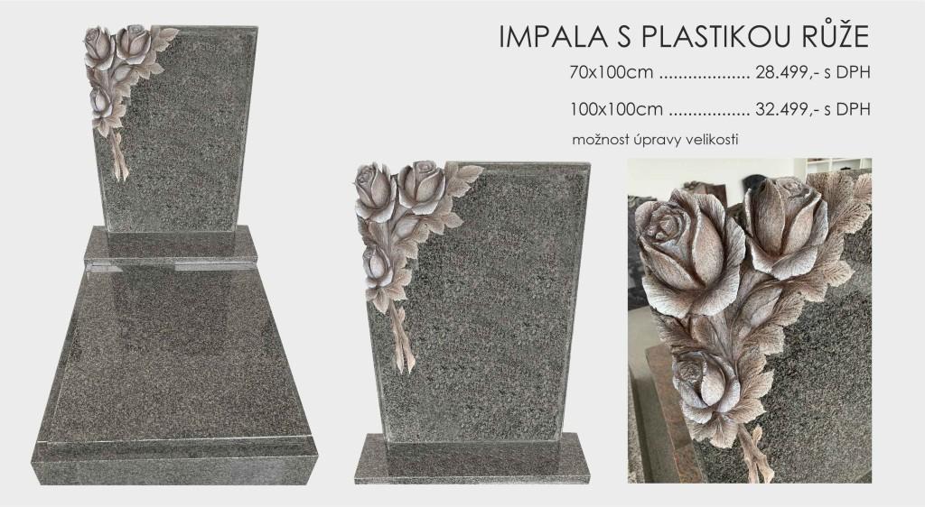 Impala s plastikou růže