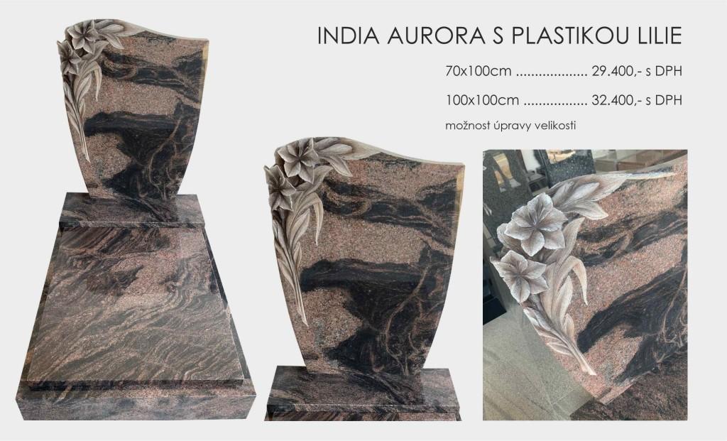 India aurora s plastikou lilie