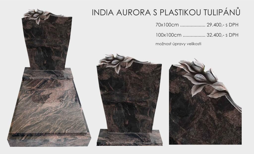 India aurora s plastikou tulipánů