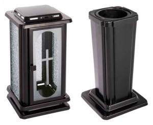 Hřbitovní lampa a Váza anticorová černá