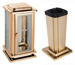 Hřbitovní lampa a Váza anticorová zlatá 2