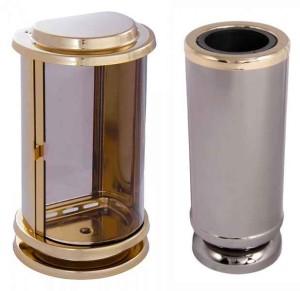 Hřbitovní lampa a Váza kulatá zlatá s černou