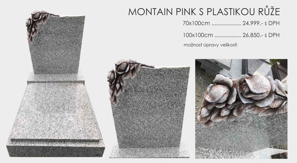 Montain Pink s plastikou růže v rohu