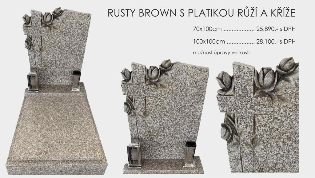 Rusty Brown s plastikou růže a kříže